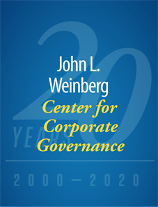 John L. Weinberg Center for Corprate Governance, 20 Years, 2000-2020